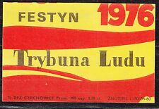 "POLAND 1976 Matchbox Label - Cat.G#409 FESTIVAL 1976 - newspaper ""Trybuna Ludu""."