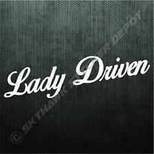 Lady Driven Vinyl Bumper Sticker Decal Sport Car Truck SUV Van Girl Woman Driver