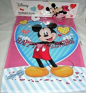 "DISNEY VALENTINE'S DAY GARDEN FLAG 12.5""x 18""  MICKEY MOUSE/HAPPY VALENTINES"