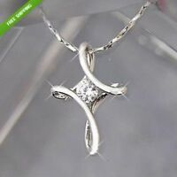925 Silver Plated Infinity Cross with Crystal Necklace Pendant~FREE GIFT BAG