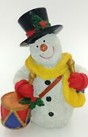 "Snowman With Drum & Top Hat Christmas Holiday Resin Figurine 6"" Tall"