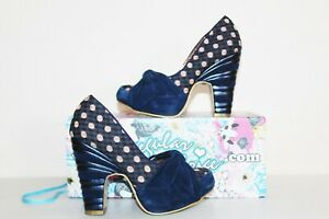 IRREGULAR CHOICE blue suede & polka dot check platform sandals UK 5 EU 38