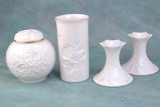 Lenox 4 pc Lot:Ginger Jar 4.5�broken lid, matching candlesticks 3.5�, Vase 5.75�