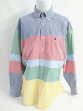 Tommy Hilfiger Button Multicolor Color Block Striped Casual Shirt Mens Size XL
