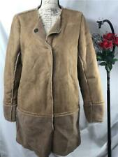 NWT J. McLaughlin Women's Carson Crew Neck Shearling Coat in Tan Solid Size M