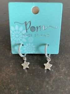 POM Boutique Silver Plated Crystal Hoop And Star Drop Earrings