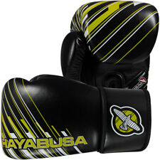 Hayabusa Ikusa Charged Dual-X Hook&Loop Boxing Gloves - 14 oz - Black/Lime Green
