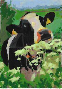 original painting A4 368BJ art samovar acrylic modern animal cow Signed 2021
