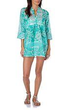 HHG green tunic tunica camicia caftano donna cotone verde acqua fantasia M BNWT