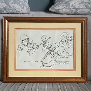 Vintage E H Hargrave Framed Pen & Ink Drawing - String Quartet Wigmore Hall 1994