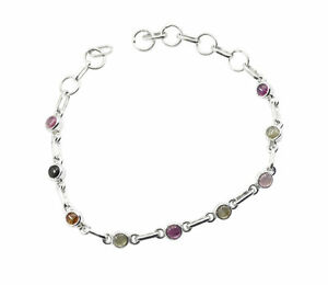 Multi 925 Solid Sterling Silver Natural attractive Tourmaline freely Bracelet AU