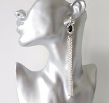 Stunning LONG silver tone - black bead & diamante CLIP ON chain tassel earrings