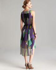 NWT Kenneth Cole New York Women multi color Purple Turnip maxi Gracey Dress XS