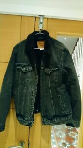 Levis Black Denim Sherpa Trucker Jacket M