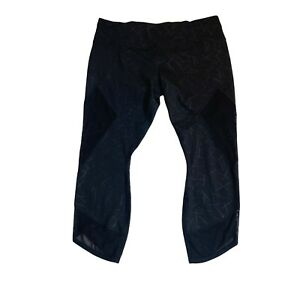 Athleta Womens Size XL  Chaturanga Crop Black geometric mesh 305922 Leggings