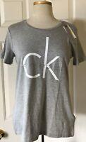 NWT Womens Calvin Klein Jeans Big CK Logo Short Sleeve Crewneck T-Shirt Gray M