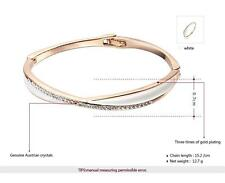 Wholesale 18K Rose Gold Plated Austrian Crystal Cross Bangle Bracelet Jewelry