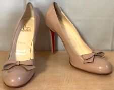 Christian Louboutin Nude Patent Leather Bow Pumps Heel Shoes Sz.41/11