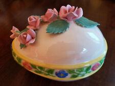 Vtg Handmade Ceramic Easter Egg Trinket Box Covered Candy Dish Flowers Roses