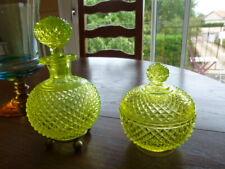 GROS FLACON + BOITE  / ANCIEN /OURALINE POINTES DE DIAMANT / URANIUM GLASS