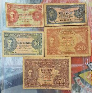 Malaya 1941 Bank Notes 50,20,10, & 5 Cent