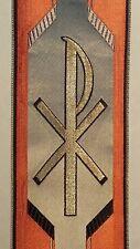 "Vintage Religious Design Chi Rho A&O Gold on Orange Banding Vestment Silk 3"""