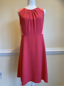 ELIE TAHARI Size 8 Coral Dress Casual A-Line Sleeveless Knee Length. Pre-Owned
