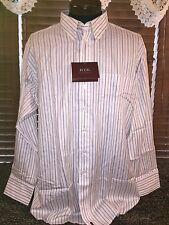 Men's NEW RTK XL 17.5/35 White/Burgundy/Green Stripe Single Pocket Dress Shirt