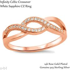 14k Rose Gold Plated Celtic Engagement Wedding Infinity CZ Ring Size 3 - 12