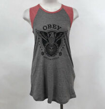 Obey Women's Muscle Tank Top Peace and Justice Eagle Grey/Brick Size S NEW