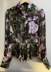 Women's Full Circle Blouse with Floral Print Very Pretty Bohemian/Romantic 12/14
