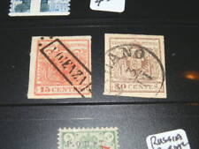 #1935,Austria Lombardy, Two Sc#A1,15c Red,30c Brown,Nice Postmarks