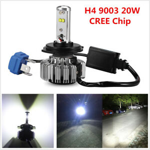 1x H4 9003 20W LED Motorcycle Bike Headlight Bulb Hi-Low Beam 6000K 3000LM