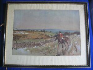 Antique Framed LIONEL EDWARDS Hunting scene print horses on the gallop