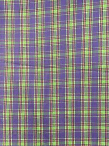 """Plaid Woven Fabric Purple Green Red 3 Yds 44"""" Wide"""