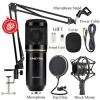 Condenser Microphone Kit Studio Suspension Boom Scissor Arm Sound Card BM800