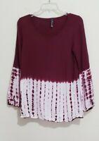 Nu Label Women's Burgundy Half Tie Dye Long Sleeve Boho Top Blouse Size Small