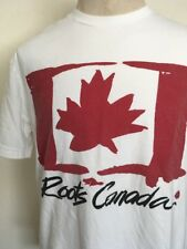 ROOTS ATHLETICS ROOTS CANADA FLAG GRAPHIC TEE ~ White ~ Combed Cotton ~ Large