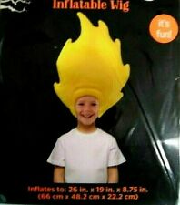 Inflatable Wig Blow Up Yellow Cartoon Crazy Hair Flame Costume Party Cosplay
