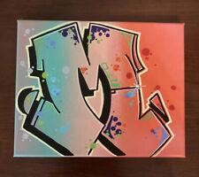 "Graffiti ""M"" 8 x 10 spray paint and marker Art on Canvas signed original"