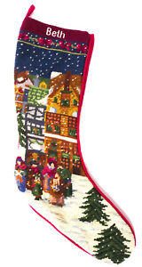 """Needlepoint Christmas Stocking Caroling in the Snow 22"""" Personalized W/Beth"""