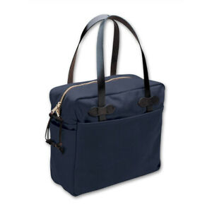 Filson Rugged Twill Tote Bag With Zipper 11070261 Navy Black Leather Strap Brass
