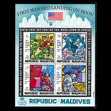 Maldives, Sc #301a, MNH, 1969, S/S, Man On Moon, Overprinted Silver, EDD-9