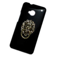 Case for HTC One M7 3D Bronze Metal Lion Head Ring Holder Stand Hard Back Cover