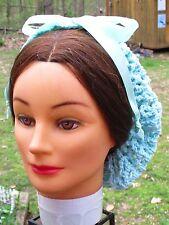 Civil War Dress Victorian Accessories Lady'S Pale Aqua Cotton Crochet Snood~Net