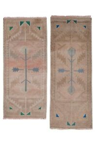 """Set of Two Distressed Small Turkish Rug 1'5"""" X 3'9"""""""