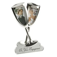 Silver Plated ENGAGEMENT Champagne Flutes Photo Frame Gift FS397