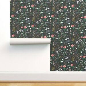 Removable Water-Activated Wallpaper Floral Charcoal Peony Fern Flowers Black