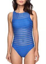 LAUREN Ralph Lauren Ottaman Mesh Hi Neck Mio Blue One Piece Swim Suit 1108  Sz 8