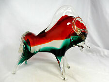 Very beautiful Murano glass bull  / Sehr schöner Murano Glas Stier ITALY 23,5 cm